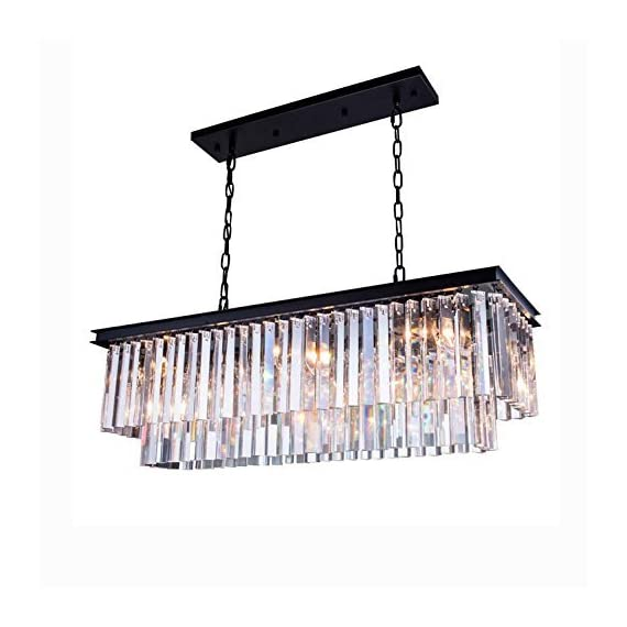 "7PM Modern Crystal Chandelier Rectangular Pendant Lighting Black Finish Light Fixture for Dining Room Kitchen Over Table - UNIQUE DESIGN: This is an elegant K9 crystal chandelier lighting. Contemporary and luxurious, the two layers of faceted rectangular crystals cascade down a black stainless steel frame giving this modern rectangular chandelier a sophisticated air. DIMENSION: Length 32"" (80CM) x Width 10"" (25CM) x Height 10"" (25CM); The hanging chain is adjustable, length is 59""(150CM) max. BULB REQUIREMENTS: 4 x E12, max 40W each (bulbs not included). Works with incandescent, LED, CFL, halogen or color changing bulbs. Fully dimmable when used with dimmable bulbs and a compatible dimmer switch (not included). - kitchen-dining-room-decor, kitchen-dining-room, chandeliers-lighting - 51r20Fb0GSL. SS570  -"