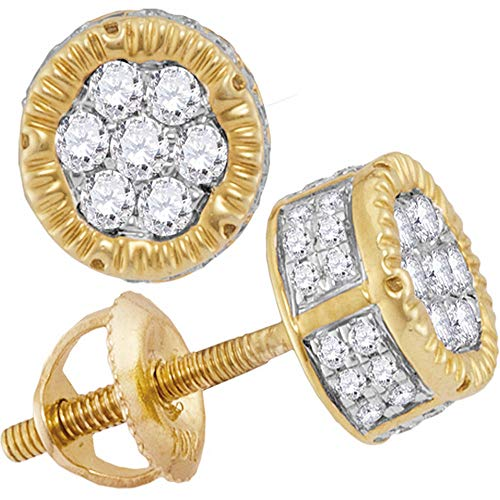 (Diamond Mens 3D Circle Cluster Stud Earrings 1/2ct 10k Yellow Gold)