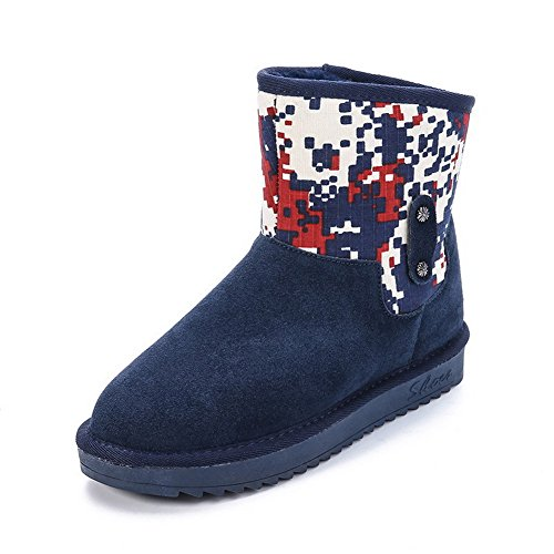 AmoonyFashion Womens Frosted Pull-On Round Closed Toe Low-Heels Low-Top Snow-Boots Blue Ptxll
