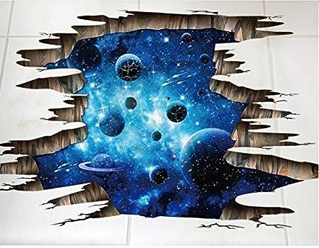 Espace planète terre fenêtre étoiles multicolores wall art sticker chambre décalcomanie