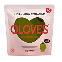 Oloves Chilli & Oregano Marinated Pitted Green Olives 30g - Pack of 6