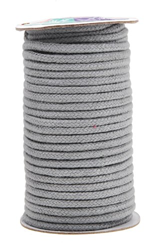 Mandala Crafts Soft Drawstring Replacement Rope Upholstery Crochet Macramé Cotton Welt Trim Piping Cord (Gray, 5mm)