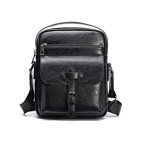 b63cba50d3d8 Whatna 2way革ショルダーバッグ メンズ 斜め掛け 手提げ 縦型 ビジネスバッグ 小さめ メッセンジャーバッグ