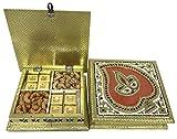 Sukhadia's Indian Gifts- Minakari Leaf with Diya- Dry Fruit Mewa Bites & Premium Masala Cashews