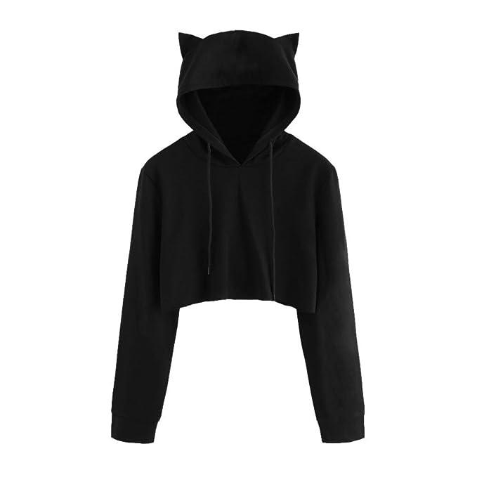Gusspower Sudadera con Capucha Corta para Mujer Gato Manga Larga Pullover Tops Blusa Camisa de niña Abrigo de Mujer