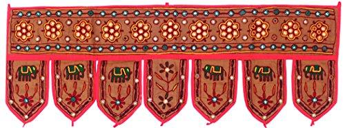 Indian Window Valance Handmade Door Decoration Toran (Brown, 38 x 13.5 inches) (Drip Brown Mirror)