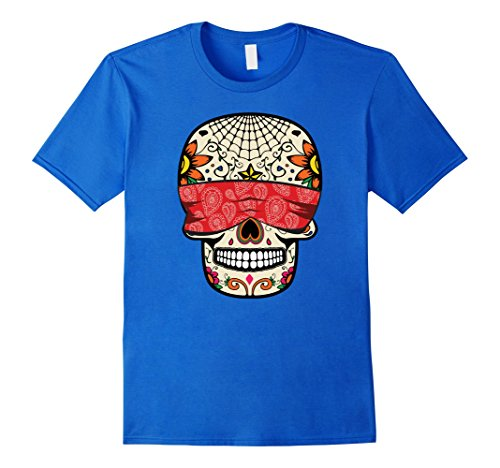 Hear No Evil Speak No Evil See No Evil Costumes (Mens See No Evil Sugar Skull T-Shirt Halloween Day Of The Dead 3XL Royal Blue)