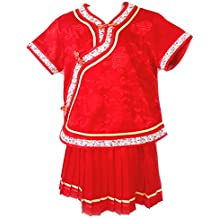Little Girls' Chinese Dress Suit Outfit Uniform Costume (Red)