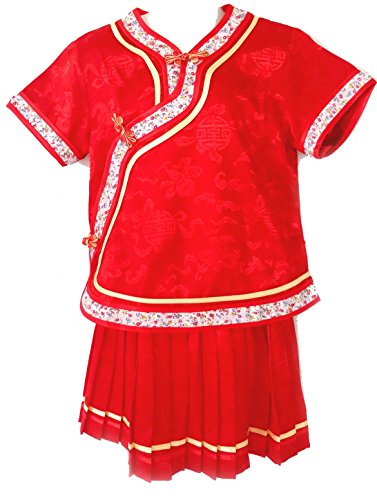 Little Girls' Chinese Dress Suit Outfit Uniform Costume (Red (Child Little Geisha Costumes)