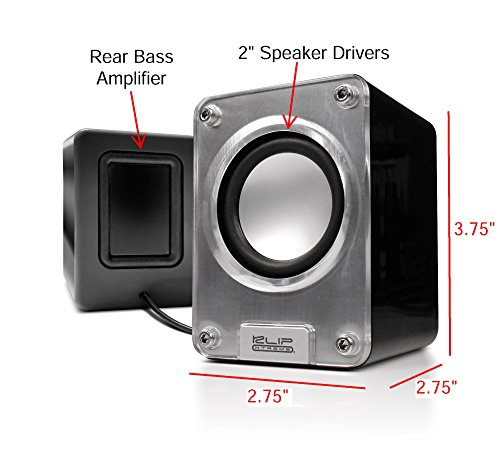 Klip Xtreme Mini II-2.0 Channel Stereo Speakers-Wired USB powered,3.5mm Connector-10Watt Peak Power-5W RMS-2.5'' Drivers with Heavy Bass design-Great for Computer,Laptop,Smartphone Tablet Stereo Sound by Klip xtreme (Image #2)