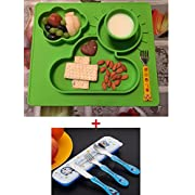 Extra Large Feeding Silicone Placemat and Tray, Bowls for Babies Kids Children,Safe Non-toxic Food Grade Silicone, Phthalate Free, Not Breakable, Easy Clearning, Portable with a silicone bib (blue)