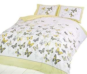 Mariposa Amarillo Lunares Mezcla de Algodón King Size ( Liso Nata Sábana Bajera - 152 X 200CM + 25) 4 Piezas Juego de Cama