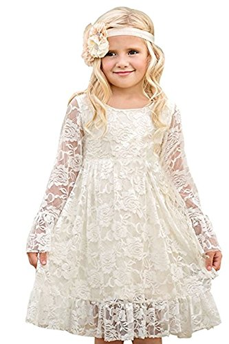 CQDY Lace Flower Girls Dresses White Party A-line Gowns Boho Rustic First Communion Kids Wedding Summer