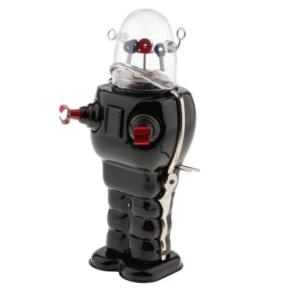 MonkeyJack Vintage Robot Toy Wind Up Clockwork Space Robots Tin Toys Kids Collectible Gifts - Black