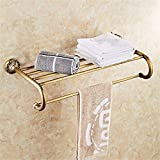 HOMEE European Style Bathroom Full Copper Retro Towel Rack Bathroom Personalized Creative Shelf,A