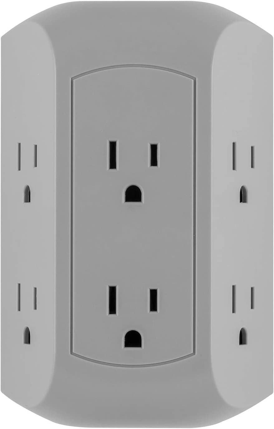 GE UltraPro 6-Outlet Surge Protector Adapter Spaced, 3-Prong Power Strip Wall Tap, Charging Station, Side Access, Gray, 47823