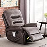CANMOV Breathable Bonded Leather Rocker Recliner Chair, Classic and Retro Design 1 Seat Sofa Manual Recliner Chair with Overstuffed Arms and Back, Smoke Gray