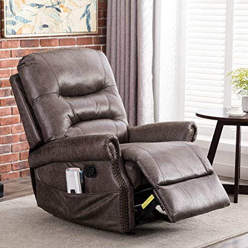 CANMOV Leather Rocker Recliner Chair, Classic and Retro Design 1 Seat Sofa Manual Recliner Chair with Overstuffed Arms and Back, Smoke Gray