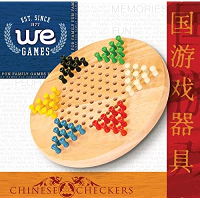Chinese Checkers with Pegs - Solid Wood Travel Size - 7 in.: Toys & Games