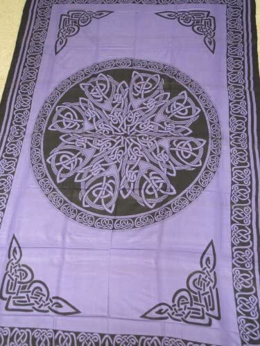 Hippie Indian Tapestry Wall Bedspread Tablecloth Purple Celtic Knot Mandala 72 x 108 TP26PL