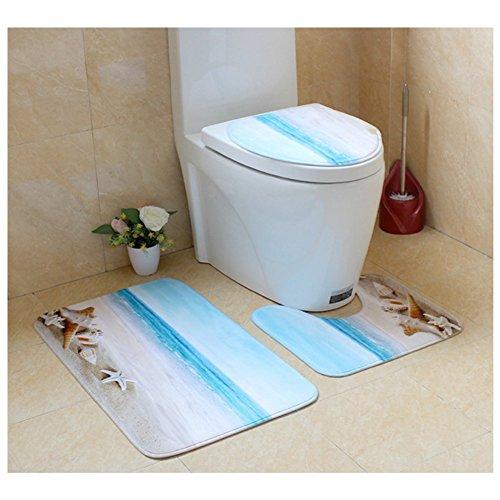 Cheap KRWHTS Beach Seashells Pattern 3 Piece Bathroom Rug Sets Non-slip Bath Mat Contour Rug Toilet Lid Cover (38) hot sale