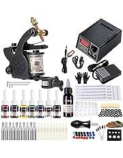 Solong Tatto Kit för nybörjare tatueringspistol kit utrustning 1 tatueringsmaskin 7 bläck TK109