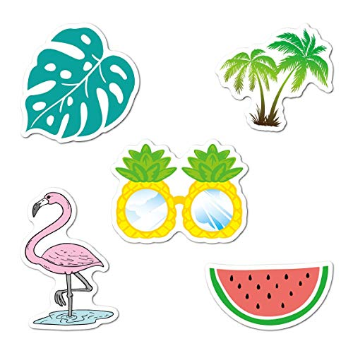 Trendy, Aesthetic Summer Beach Water Bottle Stickers with Watermelon/Pineapple Sunglasses/Pink Flamingo/Palm Leaves and Coconut ()