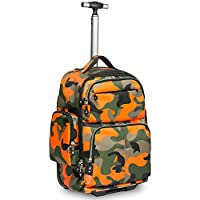HollyHOME 20 inches Big Storage Waterproof Wheeled Rolling Backpack Travel Luggage for Boys Students School Books Laptop Bag, Orange Camouflage