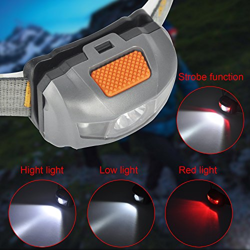 Boruit 3 LED 4 mode Mini LED Headlight with Red LED Light for Running,Camping,Reading,Walking,Hiking Waterproof, Adjustable Beam, Durable, Lightweight, 1 Year warranty (3 AAA Batteries Included)