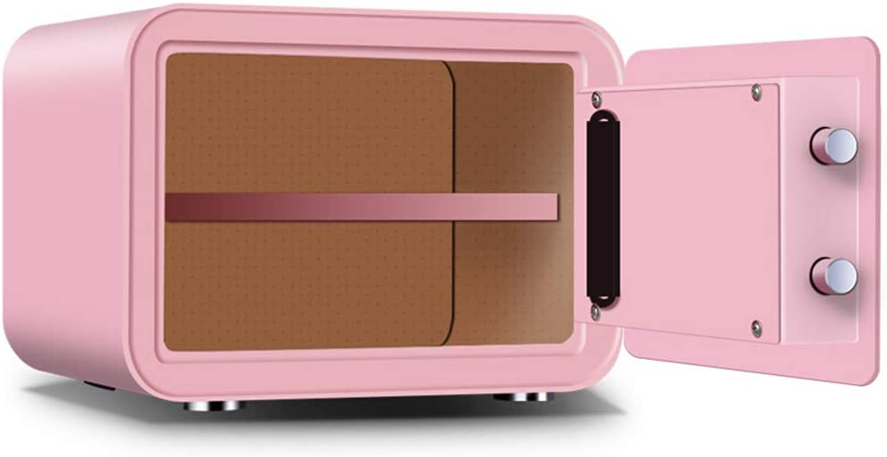 Safe Box | 35x28x25cm Digital Lock Box Security Safe | Home Combination Electronic Steel Safe with Keypad | Manual Override Keys | for Home, Business or Travel,Pink