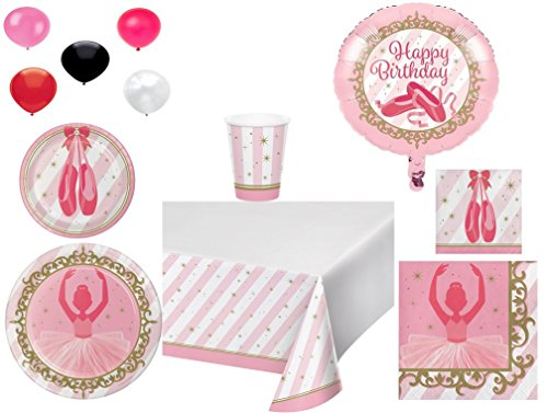 Disposable Plates/Napkins/Cups/Tablecloth/Balloons Twinkle Toes Themed Party Pack, 8-Piece Bundle