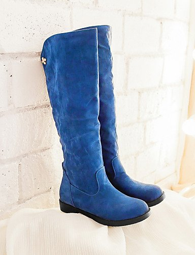Eu39 5 5 Uk5 Vellón Mujer us7 Eu38 Cn38 us8 Bajo Uk6 Moda Azul Cn39 La Punta Botas Zapatos Beige A Negro Casual Tacón Beige Blue Redonda Vestido De Xzz nOFSqxHp