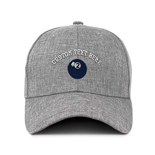 Custom Twill Baseball Cap Billards Pool Solids Ball 2 Embroidery Design Casual Hats for Men & Women Hook & Loop Light Grey Personalized Text ()