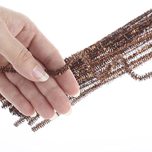 Bulk Buy of 300 Metallic Brown Tinsel Pipe Cleaners for Kids Crafts, Embellishing and Group Projects