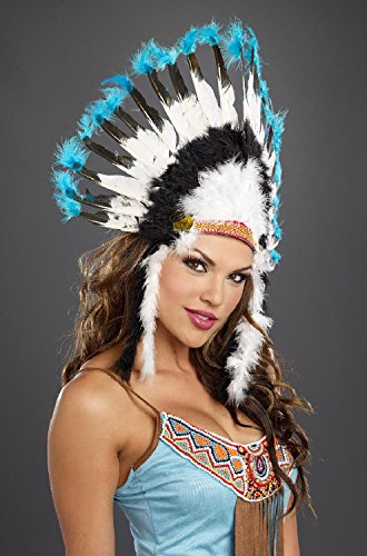 [Dreamgirl Unisex Native American Headdress, Multi, One Size] (Halloween Indian Headdress)