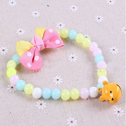 Pet Dog Cat Jewelry multicolor Beads Necklace Necklet Bell C