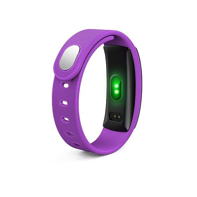 rungao Bluetooth Smart reloj ritmo cardíaco Pulsera de fitness Tracker Monitor de presión arterial, morado: Amazon.es: Deportes y aire libre