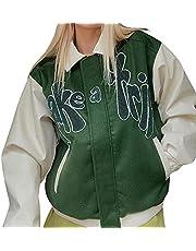 Vrouwen Varsity Jacket Jeugd Honkbal Jas Lange Mouw Jock Jacket Y2K Sweatwear Biker Style Kleding