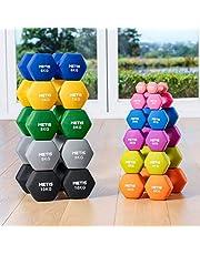 METIS Neopren Hex Hantlar [Set med 2 hantlar - Par] | 0.5 KG-10 KG | Set med hantlar - Idealiskt för Styrketräning, Toning & Pilates | Träningsvikter för Gym/Hemmaträning