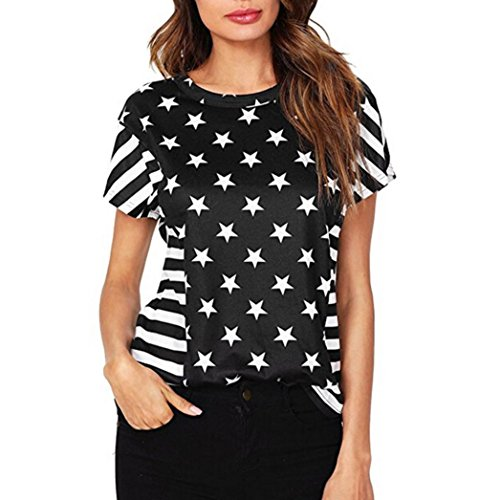 Nightgown Personalized Girls (Howley Womens Summer American Flag Print Tops Short Sleeve T-Shirts Blouse (L))