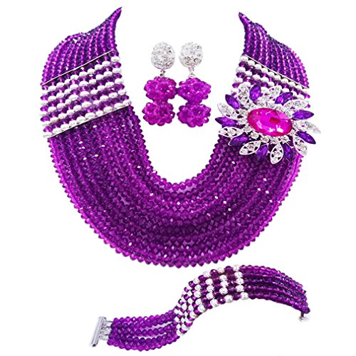 aczuv Nigerian Jewelry for Women African Wedding Necklace Set Crystal Beaded Bridal Jewelry Sets (Purple Silver Color Findings) (Beaded Purple Jewelry Set)