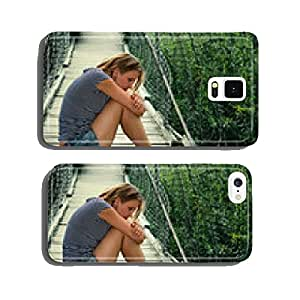 Portrait of thoughtful girl alone on the bridge cell phone cover case Samsung S6