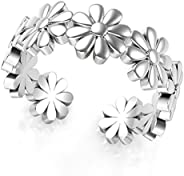SVC-JEWELS .925 Sterling Silver Plated Daisy Flower Adjustable Toe Band Ring / Midi Ring