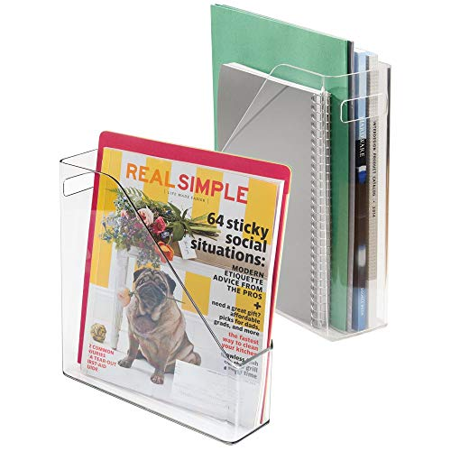mDesign Plastic File Folder Bin Storage Organizer - Vertical with Handle - Holds Notebooks, Binders, Envelopes, Magazines - Container for Home Office and Work Desktops - 2 Pack - Clear