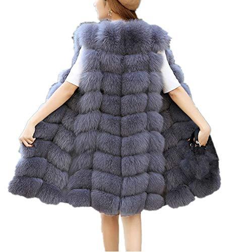 Lisa Colly Women Faux Fur Vest Coat Winter Fashion Artifical Fur Vest Coat Long Fur Vest Waistcoat Female Faux Fox Fur Vest (3XL, Silver)