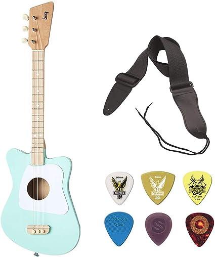 Loog - Guitarra acústica de 3 cuerdas, color verde con correa de ...