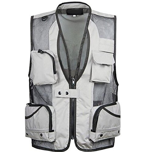 Buy cheap men outdoors multi pocket mallets photographers fishing mesh vest waistcoat gray xxl