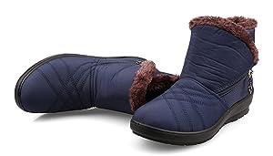 Aisun Women's Warm Comfy Waterproof Antiskid Flat Ankle Snow Boots Blue 7.5 B(M) US