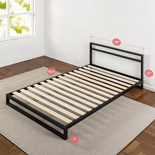 Zinus Trisha 7 Inch Platforma Bed Frame with Headboard / Mattress Foundation / Box Spring Optional / Wood Slat Support, Twin