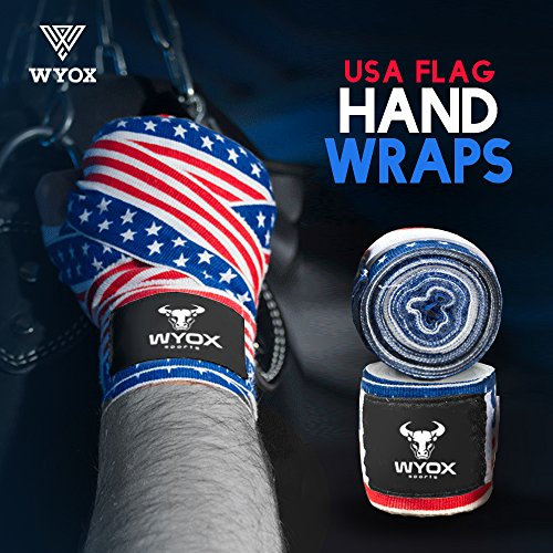 Wyox Hand Wraps Mexican Bandages Boxing Fist Inner Gloves Muay Thai MMA USA Flag (US Flag)